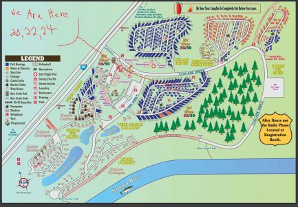 Campground map, our sites.